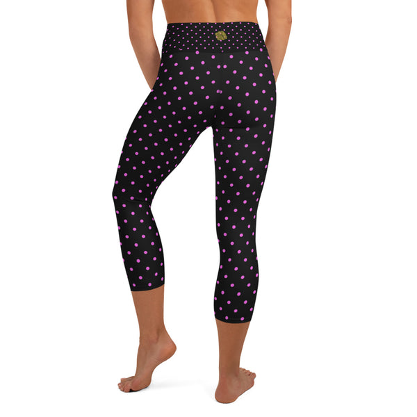 Pink Polka Dots Capri Leggings, Dots Print Black Women's Yoga Capris -Made in USA/EU-Capri Yoga Pants-Heidi Kimura Art LLC