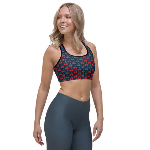 Blue Cherries Women's Sports Bra, Red Cherry Ladies Fitness Bra-Made in USA/EU-Heidi Kimura Art LLC-Heidi Kimura Art LLC Blue Cherries Padded Sports Bra, Cherries Sports Bra, Red Cherry Print Women's Padded Yoga Gym Workout Sports Bra For Female Athletes - Made in USA/ EU (US Size: XS-2XL)
