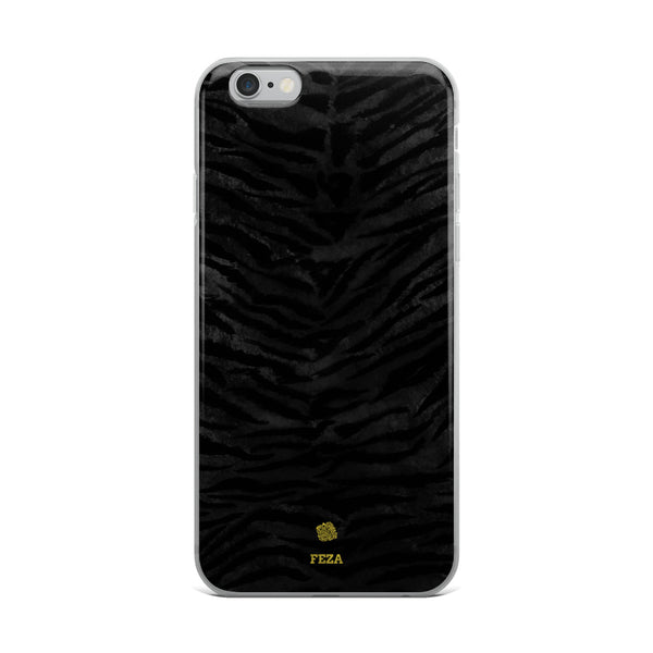Black Tiger Striped Animal Print Pattern Custom Name iPhone Case, Made in USA/ Europe-Phone Case-iPhone 6 Plus/6s Plus-Heidi Kimura Art LLC