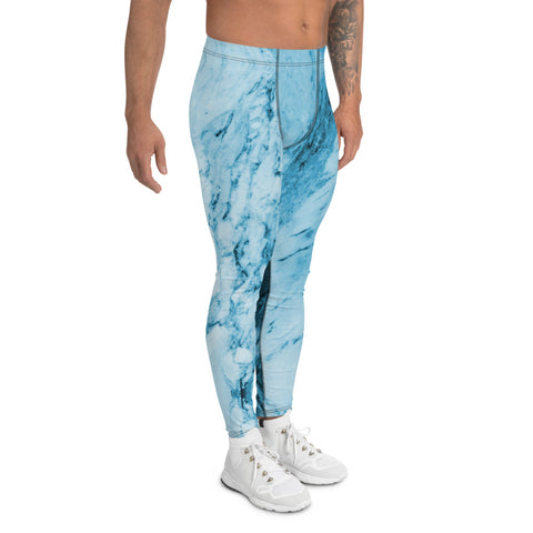 Blue Marble Print Meggings, Designer Abstract Men's Leggings-Made in USA/EU-Heidi Kimura Art LLC-Heidi Kimura Art LLC Blue Marble Print Meggings, Designer Abstract Premium Sexy Meggings Men's Workout Gym Tights Leggings, Men's Compression Tights Pants - Made in USA/ EU (US Size: XS-3XL)