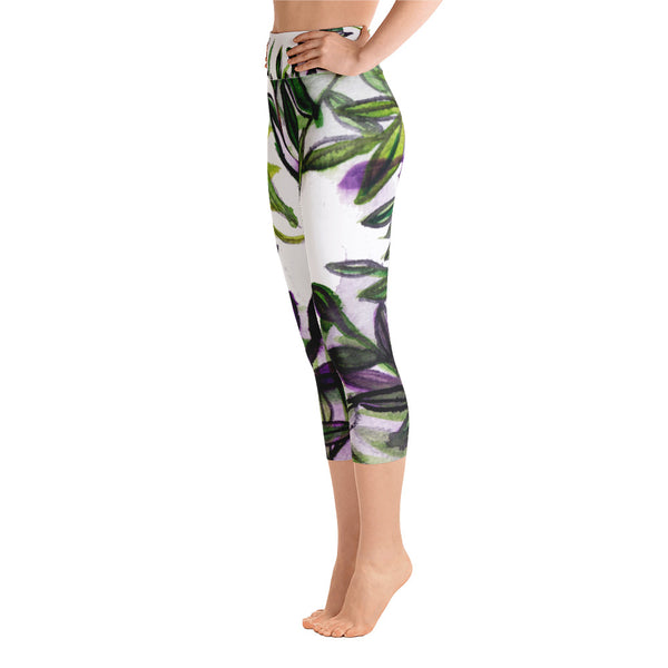 Tropical Leaves Print Yoga Pants Capri Designer Leggings Athletic Outfit - Made in USA-Capri Yoga Pants-Heidi Kimura Art LLC