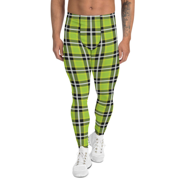 Green Plaid Tartan Print Meggings, Preppy Compression Pants Men's Leggings-Heidikimurart Limited -Heidi Kimura Art LLC