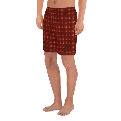 Dark Red Plaid Men's Shorts, Tartan Print Athletic Long Shorts-Made in EU-Heidi Kimura Art LLC-Heidi Kimura Art LLC Dark Red Plaid Print Shorts, Traditional Preppy Tartan Plaid Print Men's Athletic Best Long Shorts- Made in EU (US Size: XS-3XL)