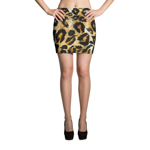 Leopard Print Women's Mini Skirt, Brown Animal Print Stretchy Skirts - Made in USA/ EU-Skirts-XS-Heidi Kimura Art LLC