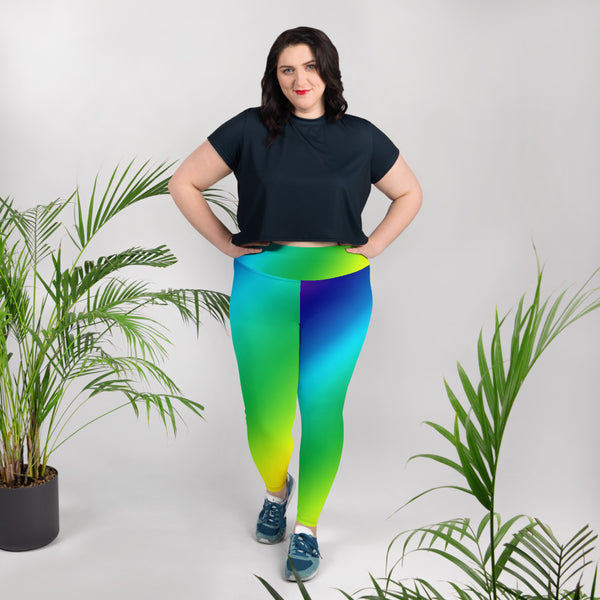 Rainbow Diagonal Ombre Print Women's Plus Size Leggings Yoga Pants- Made in USA/EU-Women's Plus Size Leggings-Heidi Kimura Art LLC