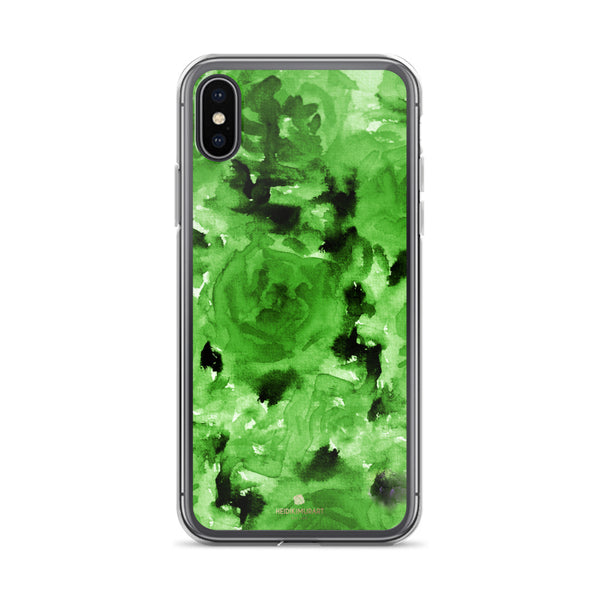 Emerald Green Floral Rose, iPhone X | XS | XR | XS Max | 8 | 8+ | 7| 7+ |6/6S | 6+/6S+ Case- Made in USA-Phone Case-iPhone X-Heidi Kimura Art LLC