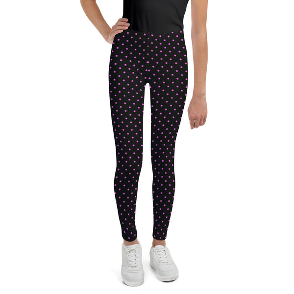 Pink Polka Dots Youth Leggings, Dotted Workout Tights-Made in USA/EU-Heidi Kimura Art LLC-Heidi Kimura Art LLC Pink Polka Dots Youth Leggings, Dotted Workout Exercise Tights, Premium Quality Designer Unisex/ Girl Bottoms Winter Essentials Sports Gym 38-40 UPF Youth Leggings, Made in USA/ MX/ EU, Youth Leggings,  Girl or Boy Leggings, Leggings With Dots, Yoga Pants/ Tights (US Size: 8-20)
