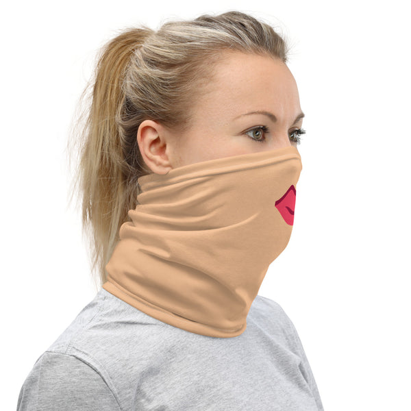 Red Sexy Lips Face Mask, Washable Reusable Funny Neck Gaiter-Heidi Kimura Art LLC-Heidi Kimura Art LLC