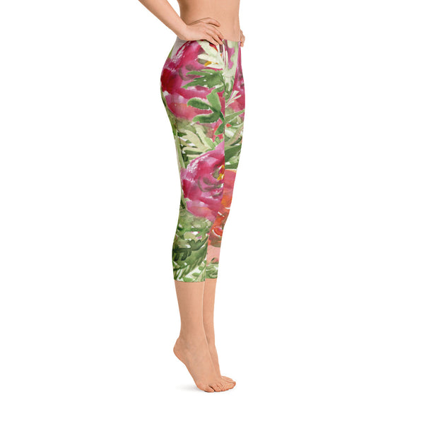 Orange Red Rose Floral Print Designer Capri Leggings Casual Outfit - Made in USA-capri leggings-Heidi Kimura Art LLC Orange Red Rose Capris Tights, Orange Red Rose Floral Print Designer Capri Leggings Casual Outfit - Made in USA/EU/MX (US Size: XS-XL)