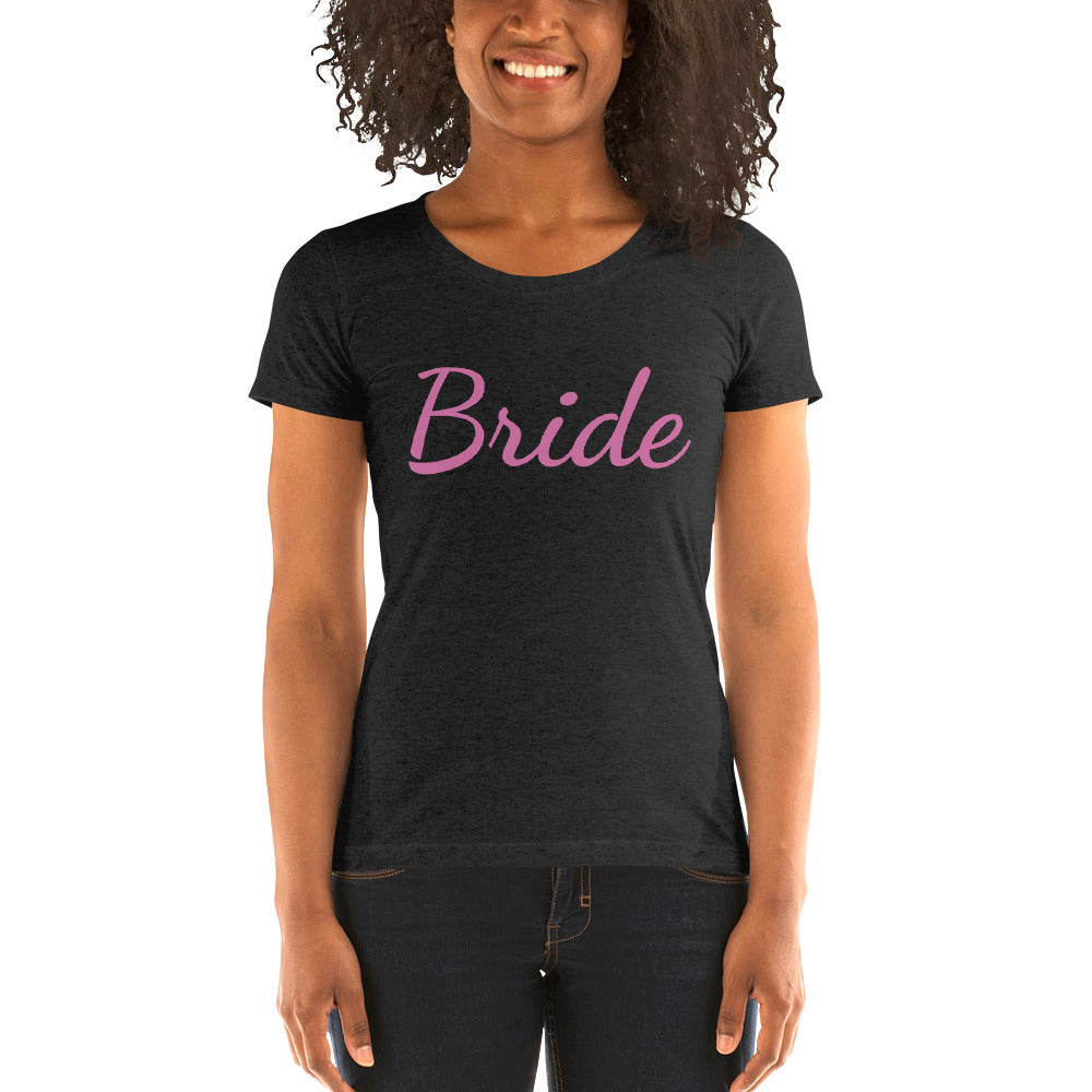 Bride/ Personalizable Custom Text Premium Personalizable Ladies' Short Sleeve T-Shirt-Women's T-Shirt-Charcoal-Black Triblend-S-Heidi Kimura Art LLC