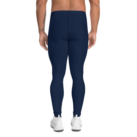 Navy Blue Men's Leggings, Modern Solid Color Meggings Compression Tights-Made in USA/EU-Heidi Kimura Art LLC-Heidi Kimura Art LLC Navy Blue Men's Leggings, Modern Solid Color Simplistic Pastel Modern Sexy Meggings Men's Workout Gym Tights Leggings, Men's Compression Tights Pants - Made in USA/ EU (US Size: XS-3XL)