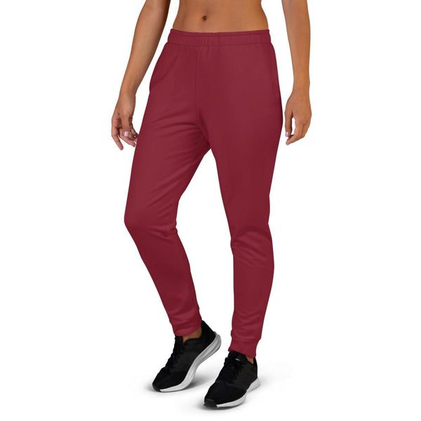 Burgundy Red Solid Color Premium Women's Joggers Slim Fit Sweatpants - Made in EU-Women's Joggers-Heidi Kimura Art LLC Burgundy Red Women's Joggers, Burgundy Red Solid Color Premium Printed Slit Fit Soft Women's Joggers Sweatpants -Made in EU (US Size: XS-3XL) Plus Size Available, Solid Coloured Women's Joggers, Soft Joggers Pants Womens
