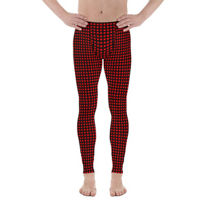 Buffalo Red Plaid Men's Leggings, Christmas Style Festive Meggings For Men-Made in USA/EU-Men's Leggings-Printful-XS-Heidi Kimura Art LLC