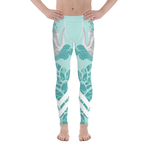 Swan Light Blue Designer Elastic Men's Leggings Tights Stretchy Pants - Made in USA/EU-Men's Leggings-XS-Heidi Kimura Art LLC