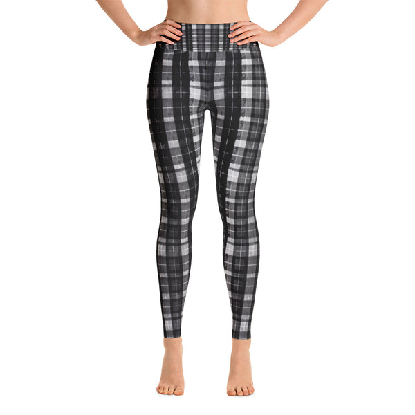 Black Plaid Workout Fitted Leggings Sports Long Yoga Pants w/ Inside Pockets-Leggings-XS-Heidi Kimura Art LLC