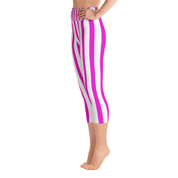 Pink Striped Women's Yoga Capri Pants Workout Leggings With Pockets - Made in USA/EU-Capri Yoga Pants-Heidi Kimura Art LLC