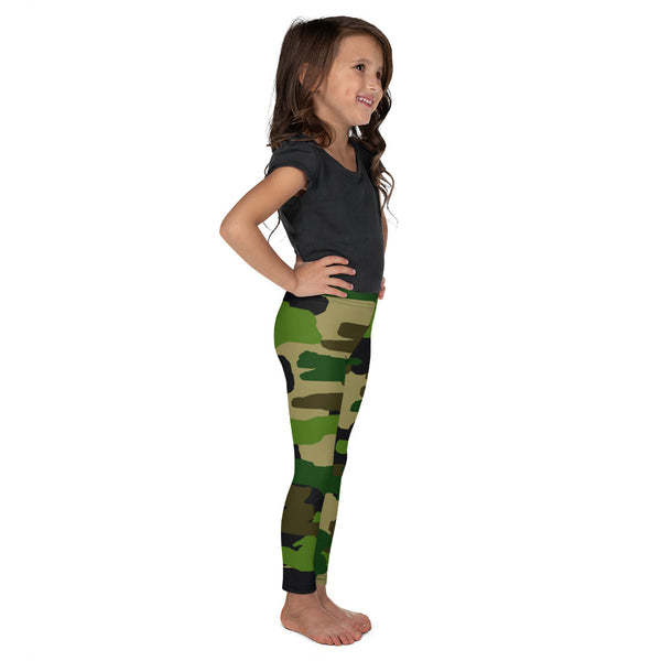 Camouflage Military Print Green Print Kid's/ Girl's Leggings Tights (2T-7) Made in USA/EU-Kid's Leggings-Heidi Kimura Art LLC
