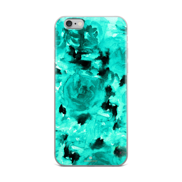 Teal Blue Rose Floral, iPhone X | XS | XR | XS Max | 8 | 8+ | 7| 7+ |6/6S | 6+/6S+ Case- Made in USA-Phone Case-iPhone 6 Plus/6s Plus-Heidi Kimura Art LLC