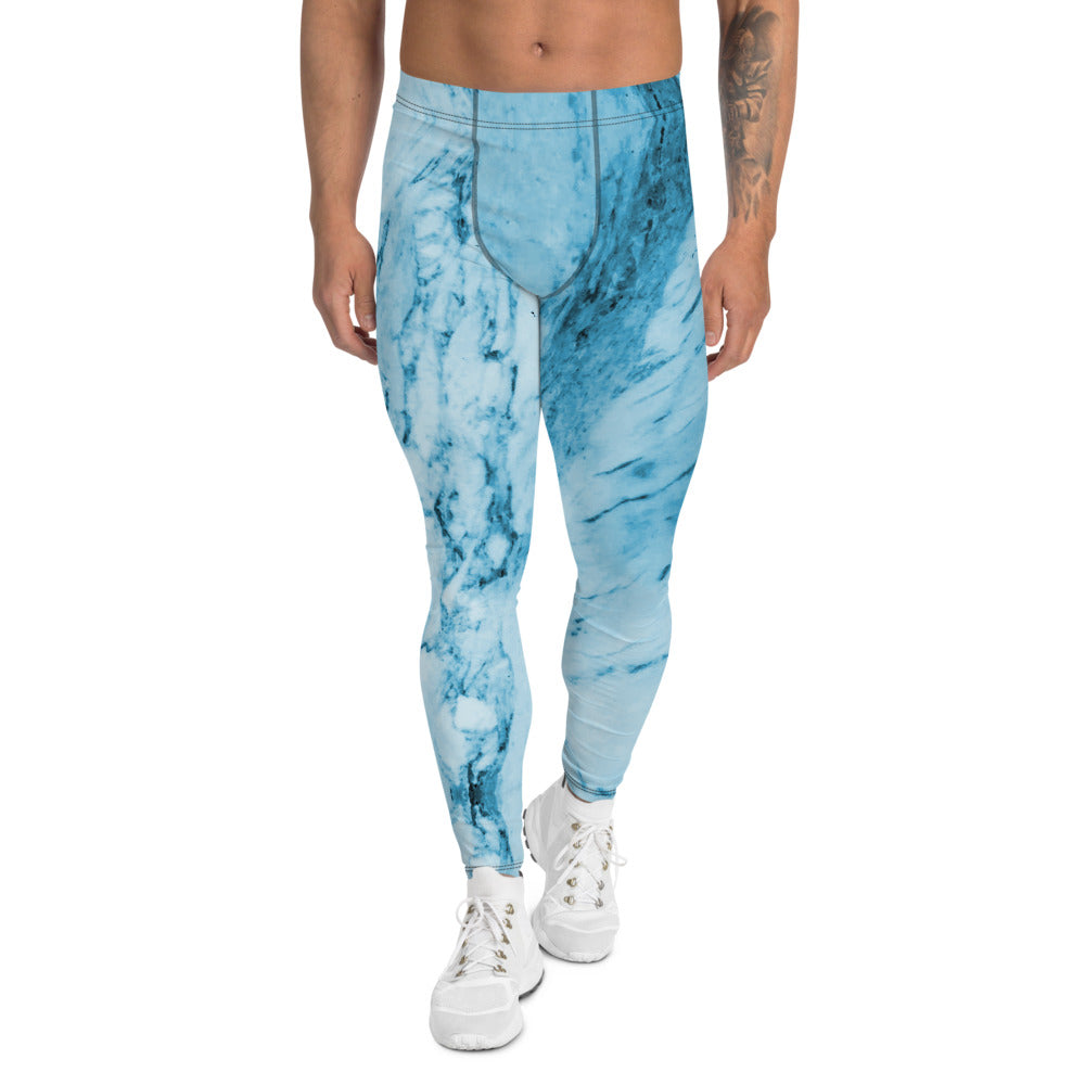 Blue Marble Print Meggings, Designer Abstract Men's Leggings-Made in USA/EU-Heidi Kimura Art LLC-XS-Heidi Kimura Art LLC Blue Marble Print Meggings, Designer Abstract Premium Sexy Meggings Men's Workout Gym Tights Leggings, Men's Compression Tights Pants - Made in USA/ EU (US Size: XS-3XL)