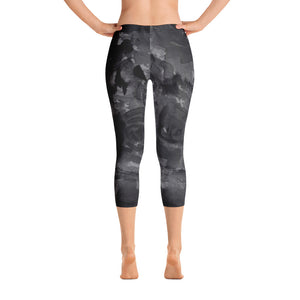 Gray Black Rose Floral Print Women's Capri Leggings Spandex Tights - Made in USA-capri leggings-XS-Heidi Kimura Art LLC