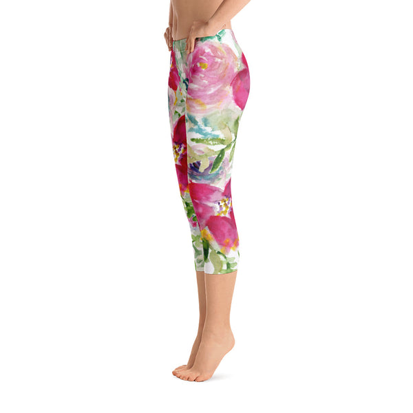40194cb2692f7e Ama Red Rose Floral Designer Capri Leggings Active Wear Outfit - Made in USA  (US ...