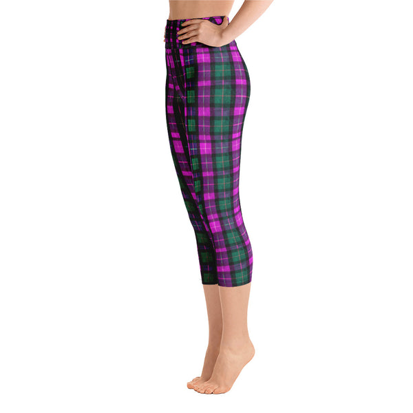 Pink Green Plaid Women's Yoga Capri Pants Leggings w/ Pockets- Made In USA-Capri Yoga Pants-Heidi Kimura Art LLC Pink Plaid Women's Capri Leggings, Pink Green Plaid Women's Cotton Yoga Capri Pants Leggings With Pockets Plus Size Available- Made In USA/ Europe (US Size: XS-XL)