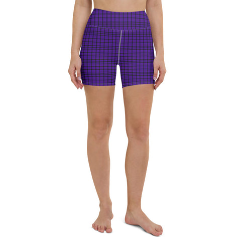 Purple Plaid Print Yoga Shorts, Tartan Women's Short Tights-Made in USA/EU-Heidi Kimura Art LLC-XS-Heidi Kimura Art LLC Purple Plaid Print Shorts, Classic Best Scottish Tartan Print Women's Elastic Stretchy Shorts Short Tights -Made in USA/EU (US Size: XS-3XL) Plus Size Available, Tight Pants, Pants and Tights, Womens Shorts, Short Yoga Pants