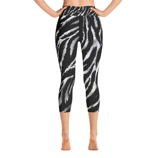 Zebra Animal Stripe Print Women's Yoga Capri Leggings- Made in USA (XS-XL)-Capri Yoga Pants-Heidi Kimura Art LLCZebra Striped Yoga Capri Leggings, Black White Zebra Animal Stripe Print Women's Yoga Capri Leggings Pants - Made in USA/EU (US Size: XS-XL)