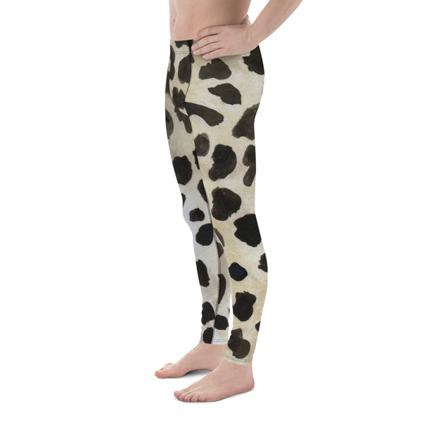 Brown Animal Print Cow Print Sexy Wild Men's Leggings-Made in USA/EU (US Size: XS-3XL)-Men's Leggings-Heidi Kimura Art LLC Brown Cow Meggings, Brown Animal Cow Print Sexy Hot Fashionable 38-40 UPF Fitted Yoga Pants Running Leggings & Tights- Made in USA/EU (US Size: XS-3XL)