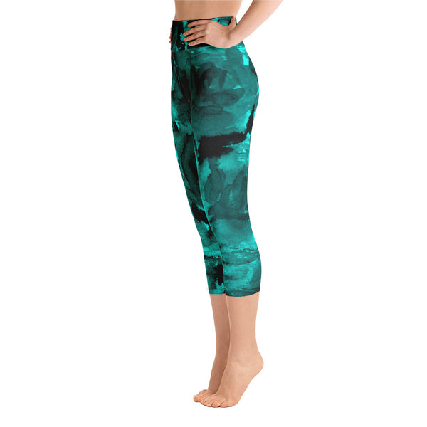 Priest Lake Dark Blue Rose Floral Print Capri Leggings Yoga Pants - Made in USA-Capri Yoga Pants-Heidi Kimura Art LLC Aqua Blue Rose Capri Leggings, Dark Blue Rose Floral Print Capri Leggings Yoga Pants - Made in USA/EU (US Size: XS-XL)