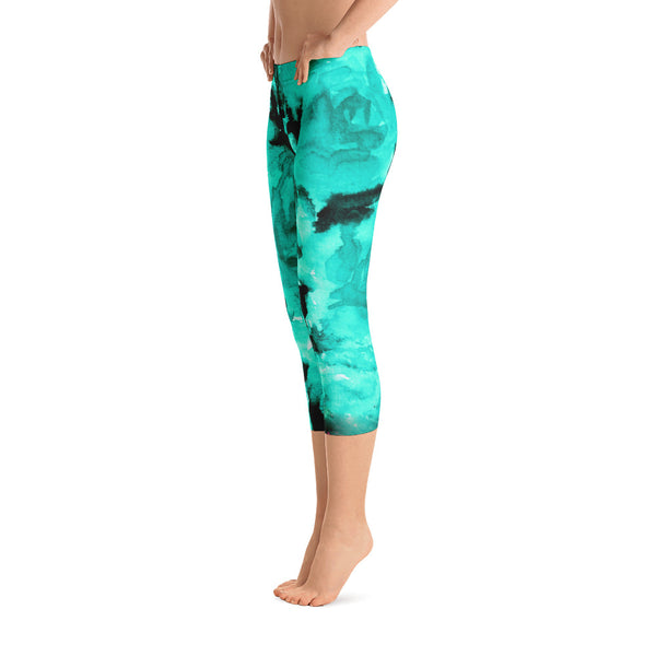 Ocean Blue Rose Floral Designer Capri Leggings Bright Colors - Made in USA-capri leggings-Heidi Kimura Art LLC