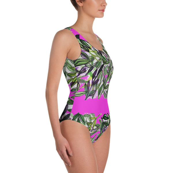 Tropical Top Floral Print Designer's Choice One-Piece Women's Swimsuit Sportswear-Swimwear-Heidi Kimura Art LLC Tropical Leaf Women's Swimwear, Tropical Floral Print Designer's Choice One-Piece Women's Swimsuit Sportswear- Made in USA (US Size: XS-3XL) Plus Size Available