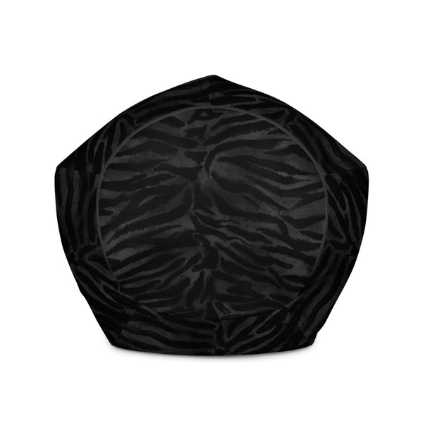 Luxury Black Tiger Striped Animal Print Water Resistant Polyester Bean Sofa Bag-Bean Bag-Heidi Kimura Art LLC