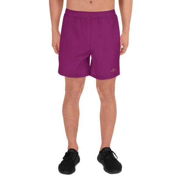 Dark Purple Solid Color Print Premium Men's Athletic Long Shorts - Made in Europe-Men's Long Shorts-XS-Heidi Kimura Art LLC