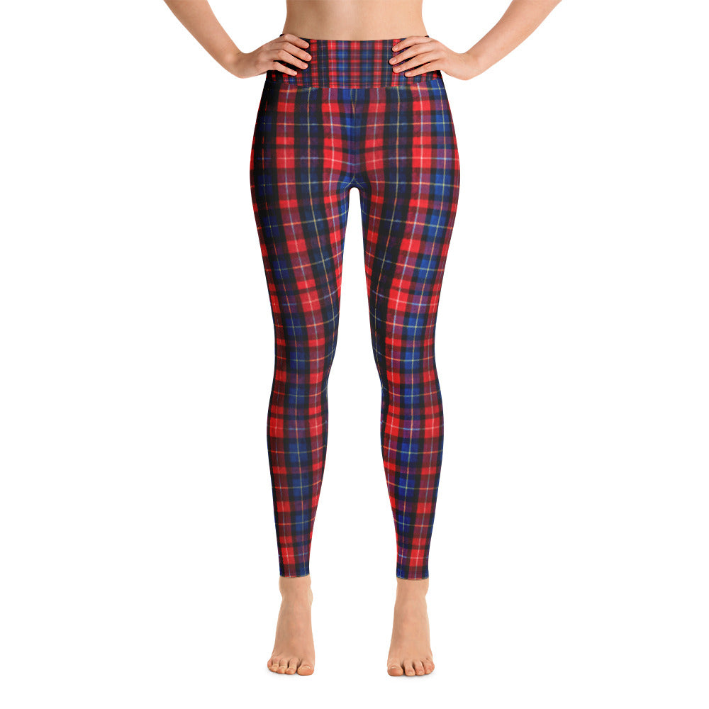 Women's Red Plaid Active Wear Fitted Leggings Sports Long Yoga Pants - Made in USA-Leggings-XS-Heidi Kimura Art LLC Red Blue Plaid Women's Leggings, Women's Red Plaid Active Wear Fitted Leggings Sports Long Yoga & Barre Pants - Made in USA/EU (US Size: XS-XL)