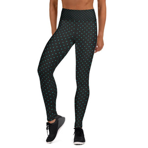 Blue Dots Print Women's Leggings, Blue Polka Dots Black Yoga Pants- Made in USA/EU-Leggings-XS-Heidi Kimura Art LLC