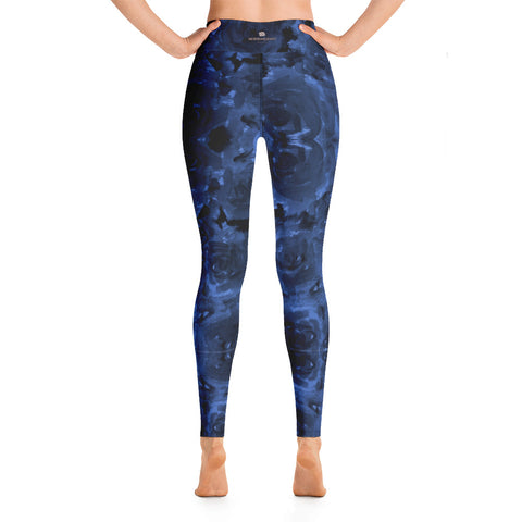 Navy Blue Floral Yoga Leggings, Abstract Flower Print Designer Women's Yoga Pants-Heidikimurart Limited -Heidi Kimura Art LLC Navy Blue Floral Yoga Leggings, Abstract Flower Print Best Luxury Premium Quality  Gym Active Fitted Leggings Sports Yoga Pants - Made in USA/EU/MX (US Size: XS-XL)