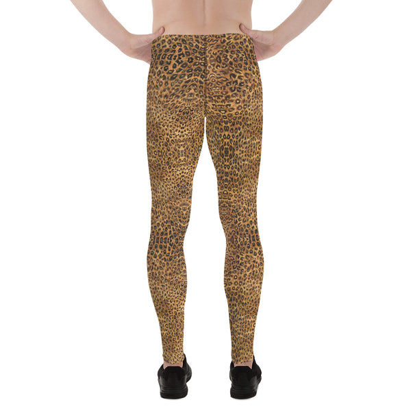 Brown Leopard Men's Leggings, Animal Print Meggings Compression Tights-Made in USA/EU-Heidi Kimura Art LLC-Heidi Kimura Art LLC  Brown Leopard Meggings, Animal Print Premium Elastic Comfy Men's Leggings Fitted Tights Pants - Made in USA/EU (US Size: XS-3XL) Spandex Meggings Men's Workout Gym Tights Leggings, Compression Tights, Kinky Fetish Men Pants