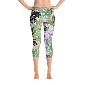 Lavender Women's Capri Leggings, Floral Black Purple Print Capris Tights- Made in USA/EU-capri leggings-XS-Heidi Kimura Art LLC
