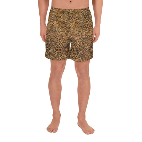 Brown Leopard Shorts, Animal Print Men's Athletic Long Shorts-Made in EU-Heidi Kimura Art LLC-XS-Heidi Kimura Art LLC Brown Leopard Men's Shorts, Animal Print Premium Quality Men's Athletic Long Fashion Shorts (US Size: XS-3XL) Made in Europe Brown Leopard Men's Shorts, Animal Print Premium Quality Men's Athletic Long Fashion Shorts (US Size: XS-3XL) Made in Europe