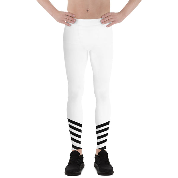 White Black Diagonal Stripe Print Men's Leggings Compression Tights- Made in USA/ EU-Men's Leggings-XS-Heidi Kimura Art LLC