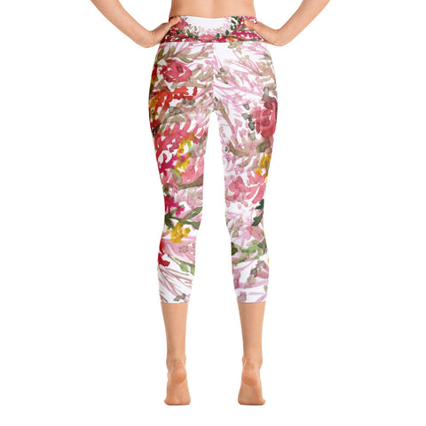 Red Floral Print Women's Capri Leggings, Best Autumn Red Capris Leggings- Made in USA/EU-Capri Yoga Pants-Heidi Kimura Art LLC