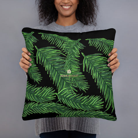 "Black Green Tropical Palm Leaf Print Designer 20""x12"", 18""x18"" Basic Pillow - Made in USA-Pillow-Heidi Kimura Art LLC Green Tropical Print Pillow, Black Green Tropical Palm Leaf Print 20""x12"", 18""x18"" Basic Pillow Rectangular Throw Pillow Case - Made in USA"