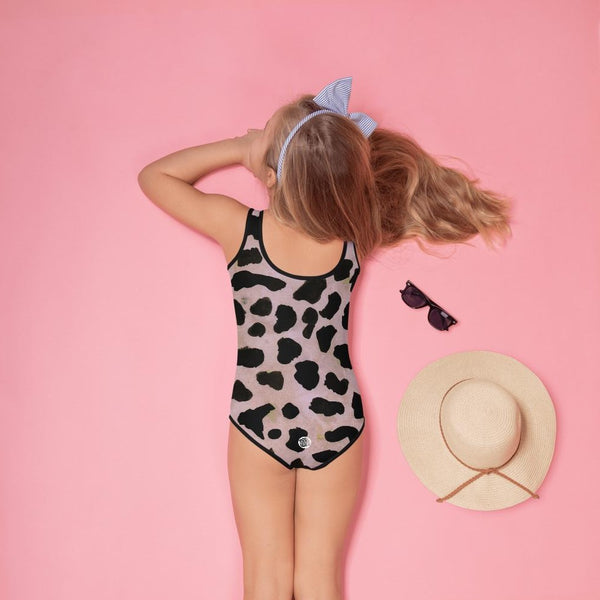 Light Purple Brown Cow Animal Print Girl's Swimsuit-Made in USA/EU (US Size: 2T-7)-Kid's Swimsuit (Girls)-Heidi Kimura Art LLC Purple Cow Girl's Swimsuit, Light Purple Brown Farm Cow Animal Print Girl's Premium Cute Kids Swimsuit- Made in USA/ EU, UPF 38-40, Sun Protective Clothing Swimwear (US Size: 2T-7)