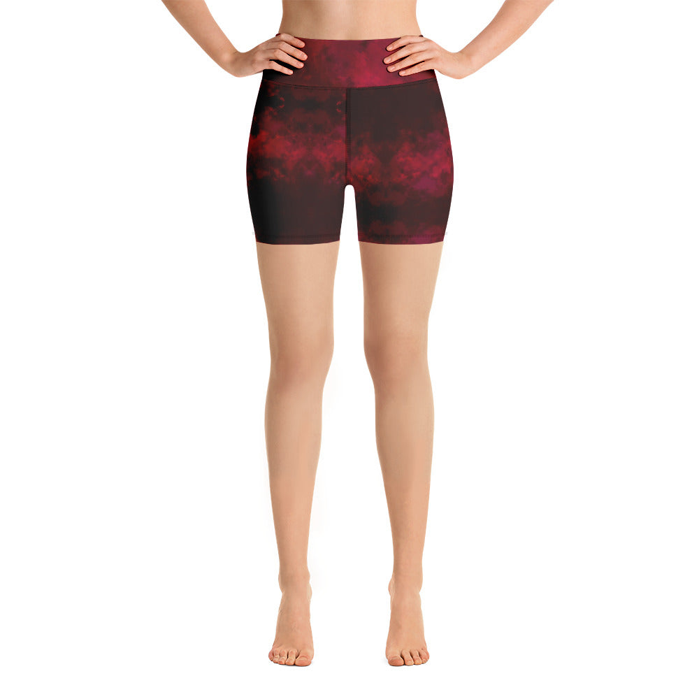 Red Abstract Women's Yoga Shorts-Heidikimurart Limited -XS-Heidi Kimura Art LLC