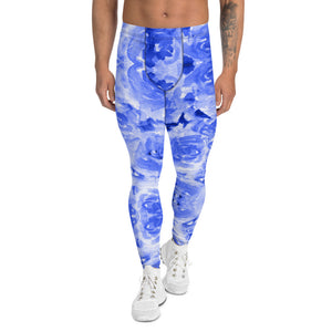 Blue Floral Men's Leggings-Heidikimurart Limited -XS-Heidi Kimura Art LLC Blue Abstract Men's Leggings, Floral Print Designer Men's Leggings Tights Pants - Made in USA/MX/EU (US Size: XS-3XL) Sexy Meggings Men's Workout Gym Tights Leggings, Compression Tights