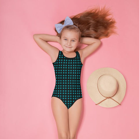 Teal Blue Buffalo Girl's Swimwear, Plaid Print Best Kids Swimsuit, Girl's Kids Premium Swimwear Sportswear Swimsuit - Made in USA/EU (US Size: 2T-7)