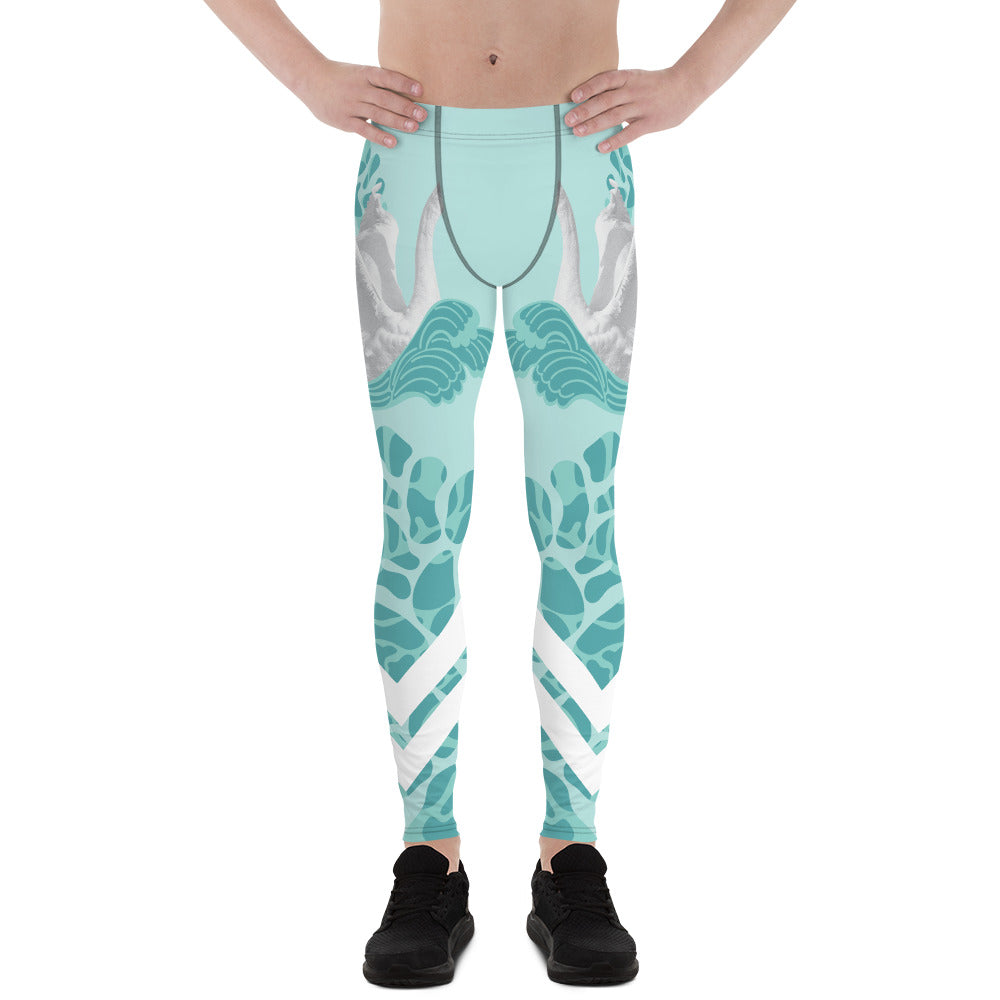 Swan Light Blue Designer Men's Leggings Tights Pants - Made in USA/EU (US Size: XS-3XL)-Men's Leggings-XS-Heidi Kimura Art LLC