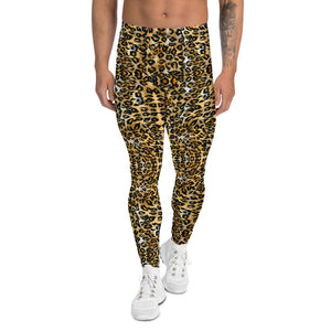 Brown Leopard Men's Leggings, Animal Print Meggings Compression Tights-Made in USA/EU-Heidi Kimura Art LLC-XS-Heidi Kimura Art LLC Brown Leopard Men's Leggings, Animal Print Designer Men's Leggings Tights Pants - Made in USA/EU (US Size: XS-3XL)Sexy Meggings Men's Workout Gym Tights Leggings