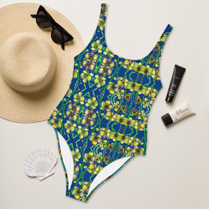 Blue Orchid Floral Print Swimwear, Designer Yellow Orchid One-Piece Swimsuit-Heidi Kimura Art LLC-XS-Heidi Kimura Art LLC